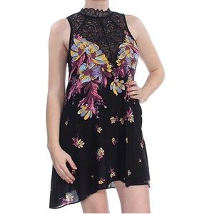 Free People Marsha Printed Lace-Neck Trapese Dress